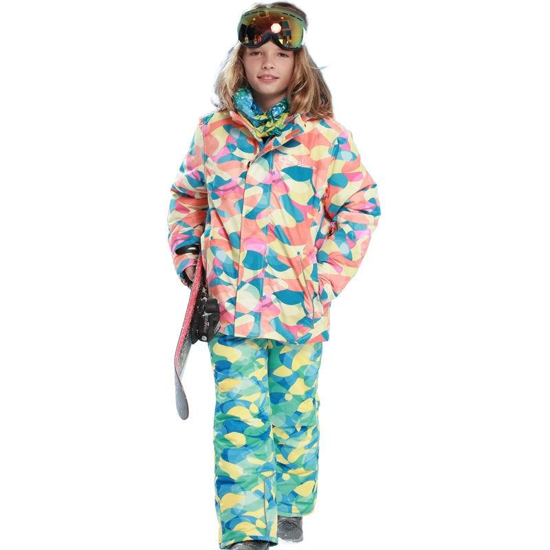 Phibee Waterproof Boys Ski Suit  Kids Ski Jacket Ski Pants Windproof Snow Clothes -30 Degree phibee girls ski jacket windproof waterproof kids ski jacket 8015 free shipping