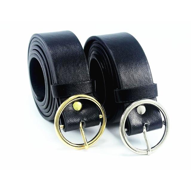 Or Rond boucle ceintures femme CHAUDE jeans de loisirs sauvage ceinture  sans broche boucle en métal c8c0d7ca25e