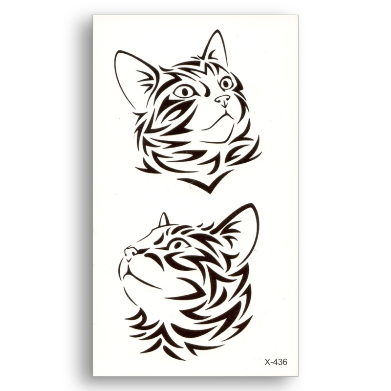 Black Lines Cute Cat Fake Temporary Tattoo Water Transfer Stickers Beauty Disposable Body Art Cool Makeup Live Of Song X436