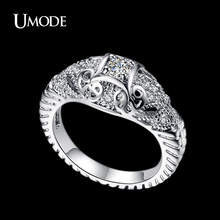UMODE Brand Bijoux Fantaisie Femme White Gold Color Top Grade Cubic Zirconia Engraving Vintage Rings For