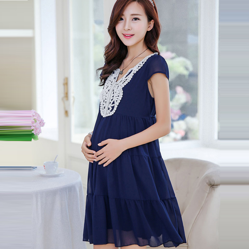 2017 Summer Maternity Chiffon Dress Clothes Blue Loose Dresses For Pregnant Women Pregnancy Wear Long Lace