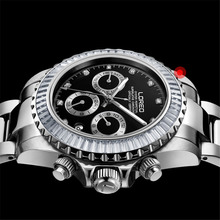 LOREO Sapphire crystal Waterproof 50M Watch Man Steel Strap Mens