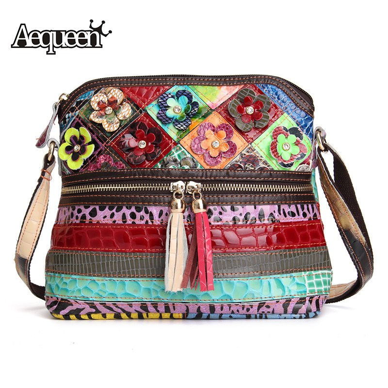 AEQUEEN Women Messenger Bags Genuine Leather Patchwork Diamond Flower Crossbody Bag Tassels Shoulder Bags For Women Random Color