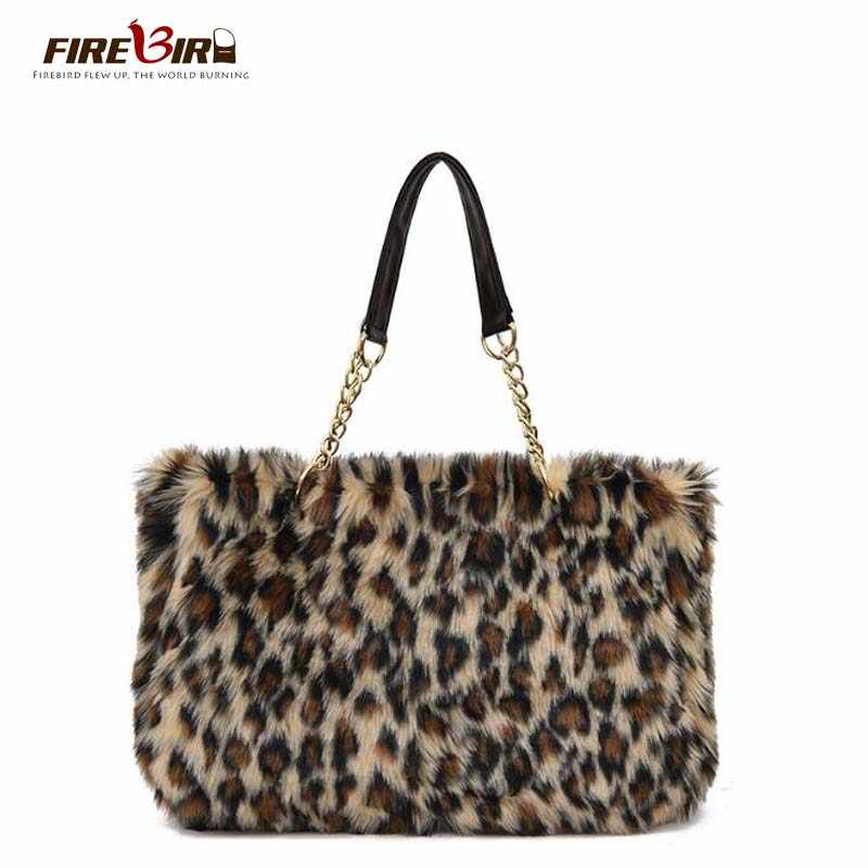 Winter Faux Fur Handbag Women Shoulder Bags Large Capacity Casual Tote Bag  Fashion Leopard Handbag chain 75d2656c4368e