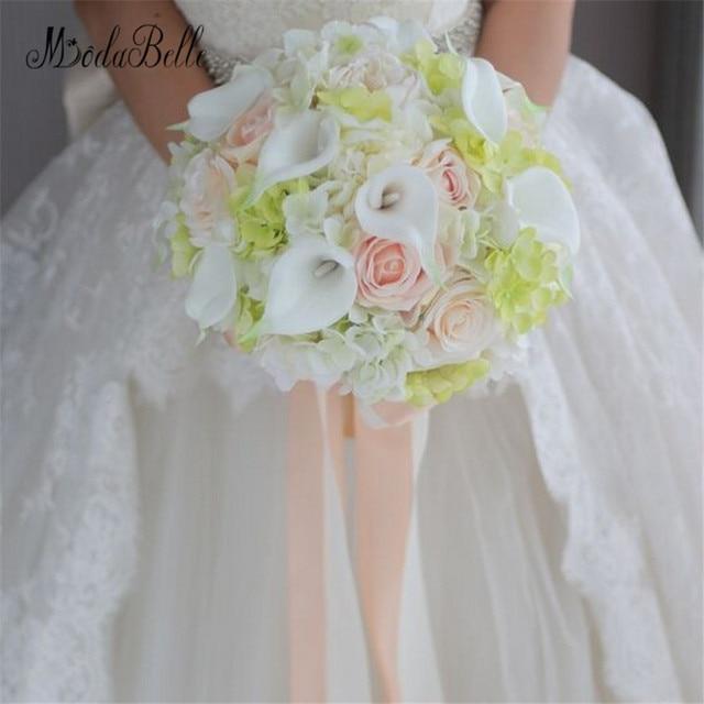 Modabelle White Green C Rose Wedding Bouquet Vintage Flores Artificiais Ramo De Novia Calla Lily Bridal