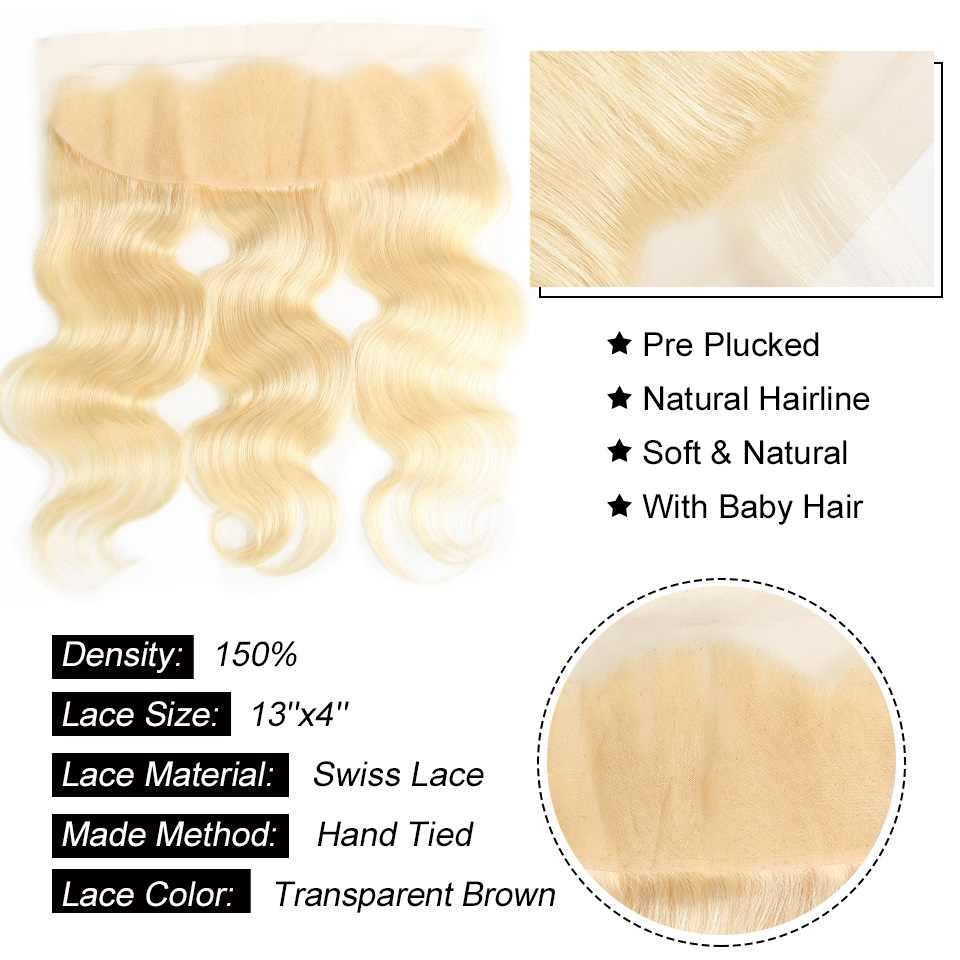 Али жемчуг 613 блонд предварительно сорвал Кружева Фронтальная с волосами младенца 13x4 кружева Фронтальная свободная часть 7 цветов доступны 10-20 дюймов remy волос