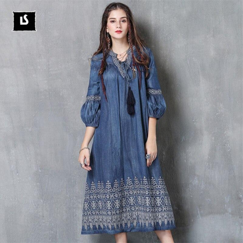 Robe 2017 Lanterne Bleu 3 Nouveau Boho Automne Broderie Manches Col Denim Robes V 4 Vintage Femmes TclJ3FK1