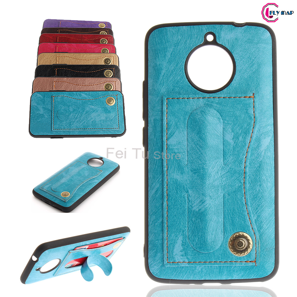 Fitted Case for Motorola Moto E4 Plus XT1771 XT1760 Bracket Card Holder Phone Leather Cover for Moto E 4 Plus Silicon TPU Case