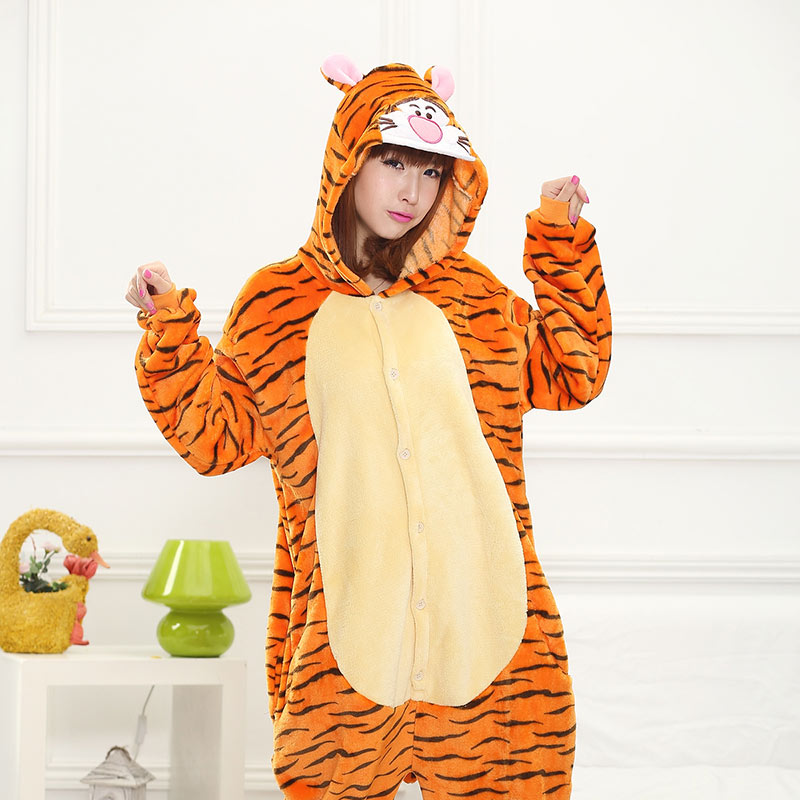 Animal Tiger Kigurumis Women Adult Onesie Cartoon Character Pajama Soft Warm Winter Sleepwear Festival Party Outfit Funny Suit