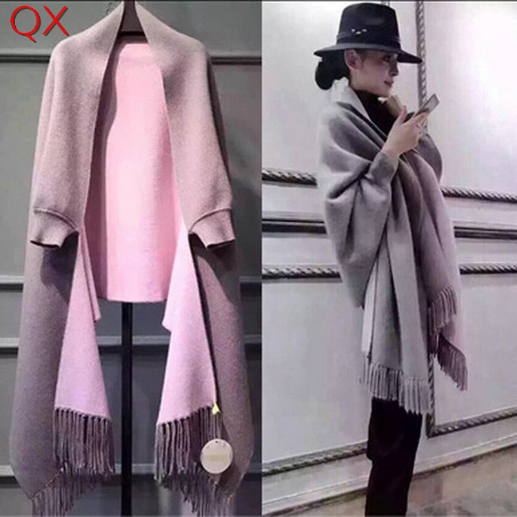 SC2 2018 Oversize Double Side Scarf Winter Faux Cashmere Poncho Women Solid Designer Female Long Sleeves Wrap Vintage Shawl