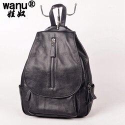 WANU nouveau 2018 sacs à dos en cuir femmes sacs dames marque sac à dos Style Preppy Vintage sac d'école femmes sac à dos fille