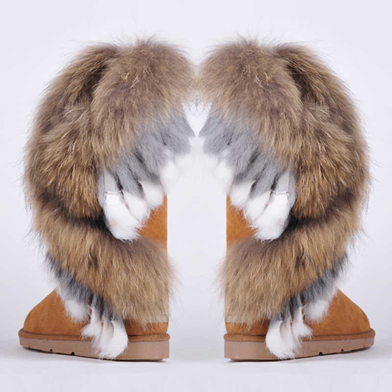 RUIYEE ladies snow boots fashion leather snow boots large size fox fur rabbit hair stitching boots 2018 new women's boots