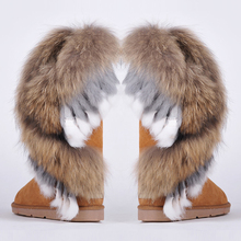 RUIYEE ladies snow boots fashion leather snow boots large size fox fur rabbit hair stitching boots 2018 new women #8217 s boots cheap Adult Low (1cm-3cm) Rubber Slip-On Mid-Calf Cow Suede Winter Plush Fits smaller than usual Please check this store s sizing info