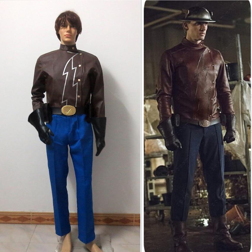 The Flash Jay Garrick Leather Set Cosplay Costume Customized Free Shipping