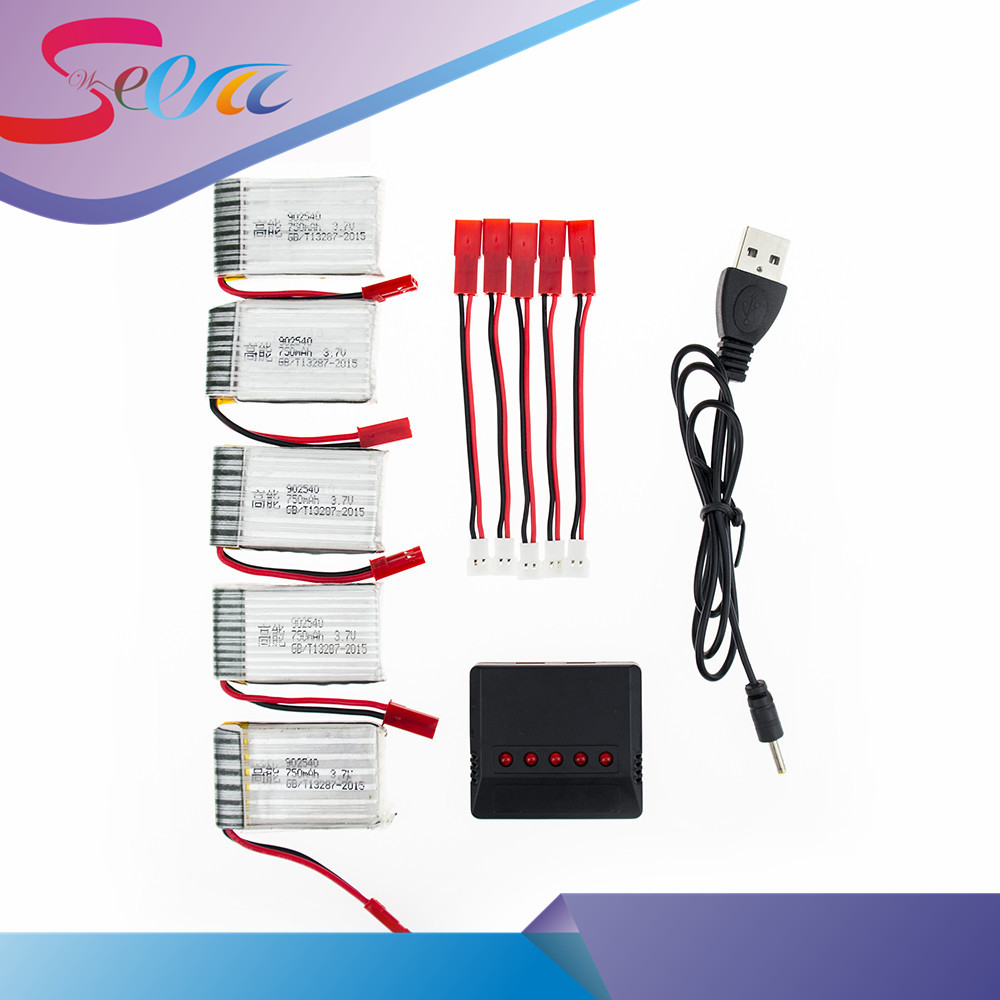 5pcs RC Drone 1S Lipo- Batteries JST 3.7V 750mAh Battery With USB Charger And Cable Set For MJX x400 X300C X800 Quadcopter Parts 3pcs battery and charger with 1 care 3 conversion cable for syma x8sw x8sc rc quadcopter accessories battery