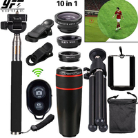 10in1 Phone Camera Lens 8x Telephoto Lenses Fish Eye Fisheye Lens Wide Angle Macro Lenses Tripod