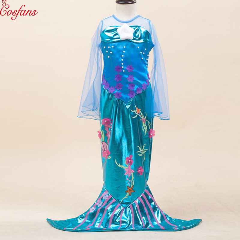 Kids mermaid cosplay children Mermaid Fancy Child Girl Mermaid Dress Princess Cosplay Halloween Costume Dress Ariel Cosplay 2018
