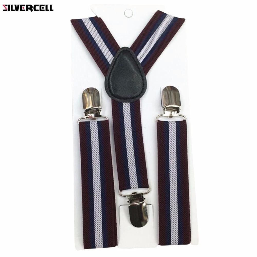 New Boys Girls Stripes Y-Back Suspenders Child Elastic Adjustable Clip-On Braces 2-8Y