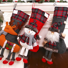 50cm Large Christmas Decorations Socks Gift Box Santa Claus Snowman Elk Candy Bag Long Leg Xmas Store Supermarket Ornaments