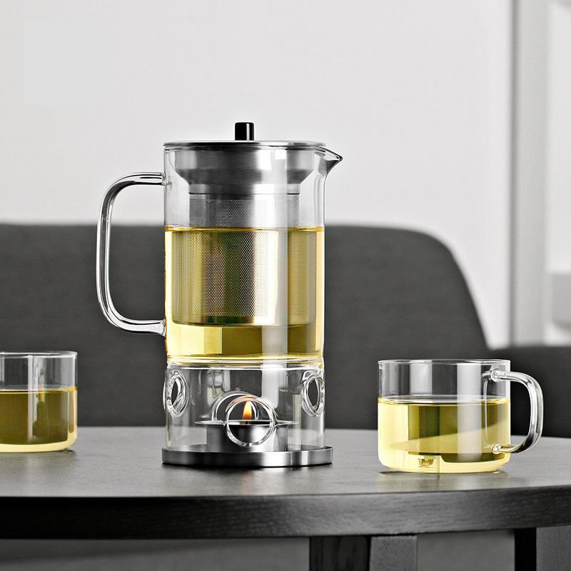 Elegant Glass Teapot With Infuser Candle Warmer 450 Ml Free Candle