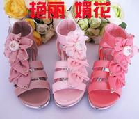 2017 mode Mädchen sandalen Prinzessin Rose Blume Gesetzt Perle Sommer Schuhe Für Kinder Kinder Größe 27-37