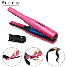 Discount! 2 in 1 Portable USB Charge Hair Iron Curler Mini Wireless Straightener Ceramic Travel Straightening Iron Hair Curl Styling Tools