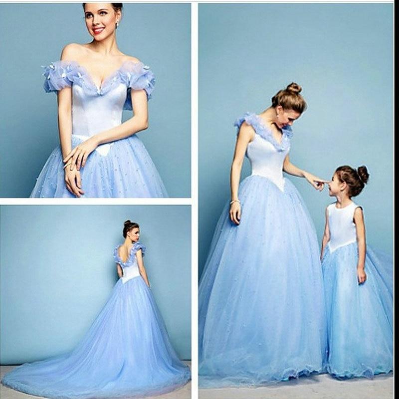 Light Blue Ball Gown Long Prom Dresses Elegant Mother Daughter ...