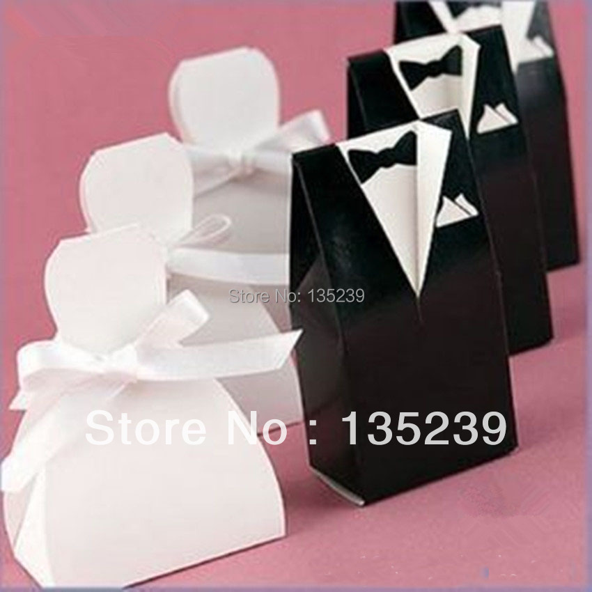 200PCS Bride Bowknot Gown And Groom Tuxedo Pattern DIY Wedding ...