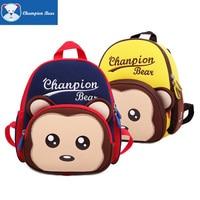 1 4Y Infant school Children Anti lost Backpack Infantry Preschool Bag Toddler Cute Monkey Character Letter Embroidery Kids Packs
