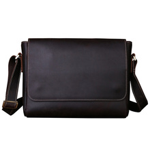 New Crazy Horse Leather Messenger Bag Men Genuine Leather Shoulder Bags Cross Body Bags Vintage Satchel