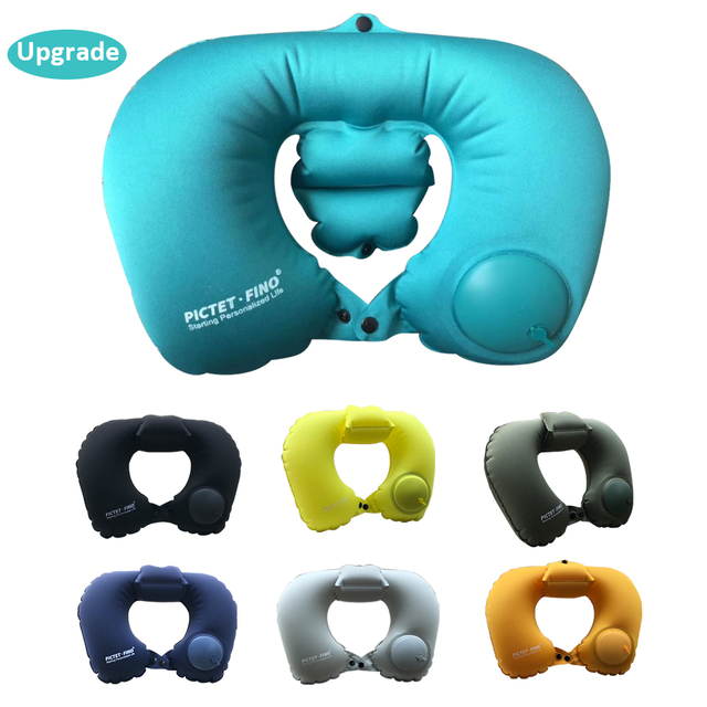 Neck Pillow Airplane Travel Kit Portable Pressing Type Automatic Inflatable Travel Pillow Neck Support Cushion Car U Pillow