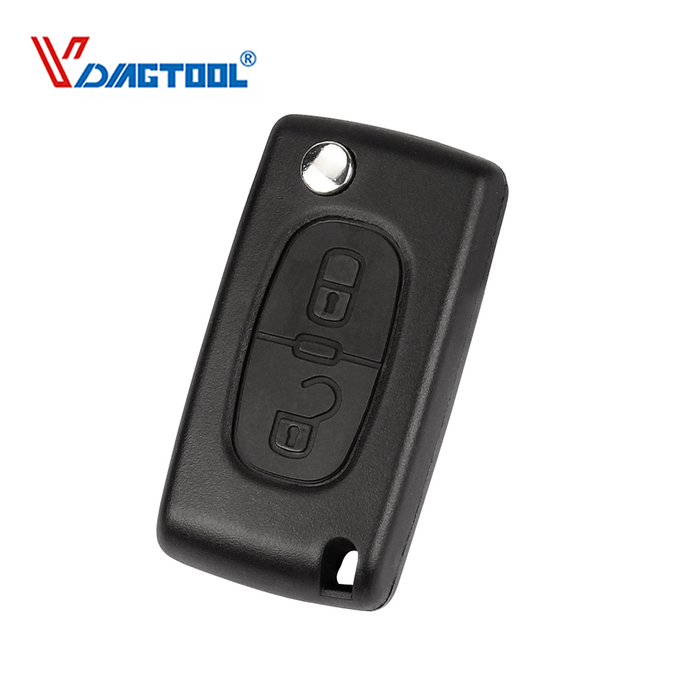 VDIAGTOOL Replacement 2 Buttons Flip Car Key Case For Peugeot Folding Blank Fob Key Shell No Logo With Groove Blade(CE0536)(China)