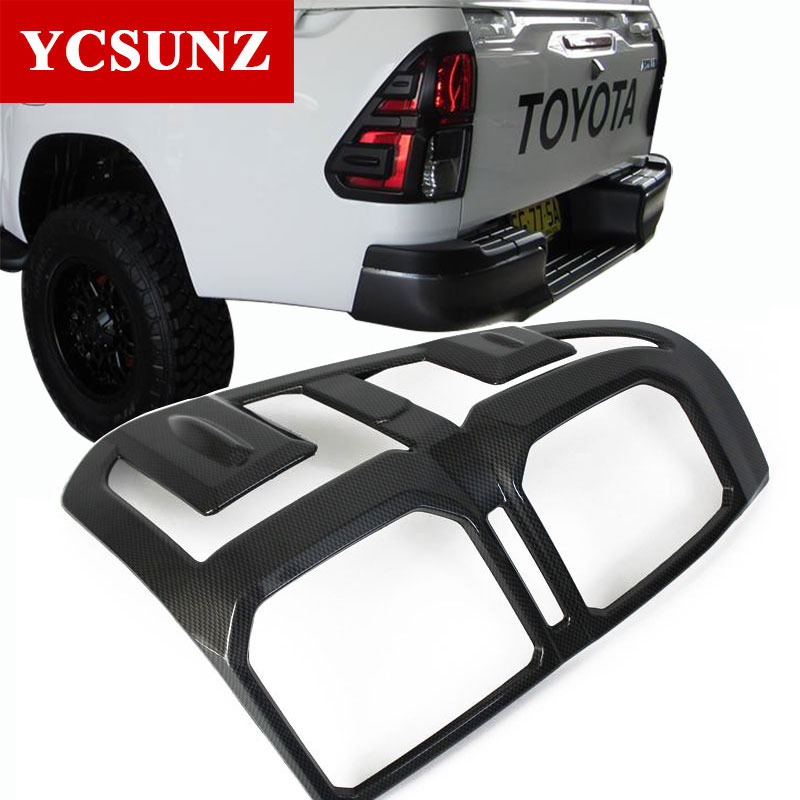 2016-2017 carbon fiber For Toyota Hilux 2016 Accessories rear Light Cover Trim For Toyota Hilux SR5 2017 Suitable Hilux Ycsunz 2016 toyota hilux revo window accessories abs chrome window gate trim for toyota hilux revo 2015 2016 chrome decoretive trim