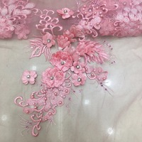 Baby Pink lace fabric 2018 appliques 3d embroidery rhinestone bead products for evening party bridal wedding design dress cloth