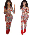 2016 Women Jumpsuits Red Overall Dashiki jumpsuits Long African Pants Two Piece Outfits Elegant Rompers Blue Bodysuit Catsuit