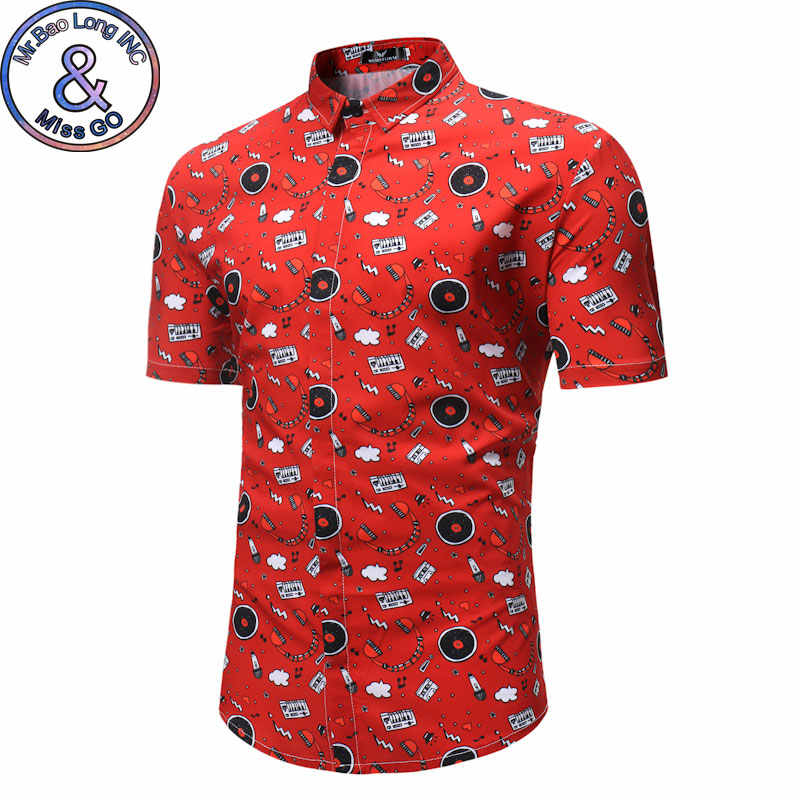 Для мужчин S Лето Slim Fit короткий рукав платье рубашка 2018 Мода Гавайских футболка с цветочным принтом Для мужчин Повседневное Фирменная Новинка рубашка мужской Camisa Hombre