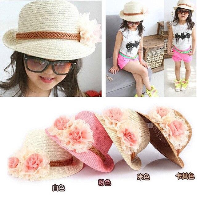 Девушки летом детские соломенные Шляпы 2016 Мода Большой Цветок Шапки маленькая шляпа УФ-защита от Солнца Флоппи Пляж Hat