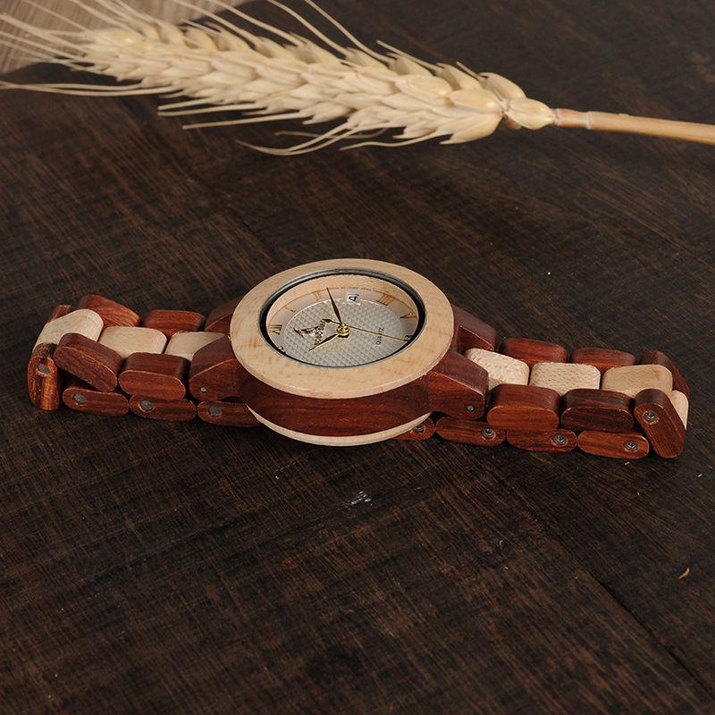 BOBO BIRD Rose SandalWood Elegant Minimal Wooden Watch For Women 12