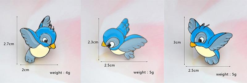 3pcs/set Enamel blue bird pin Cartoon flying fledgling Animal Brooch Denim Jacket Pin Buckle Shirt Badge Gift for Kids 2