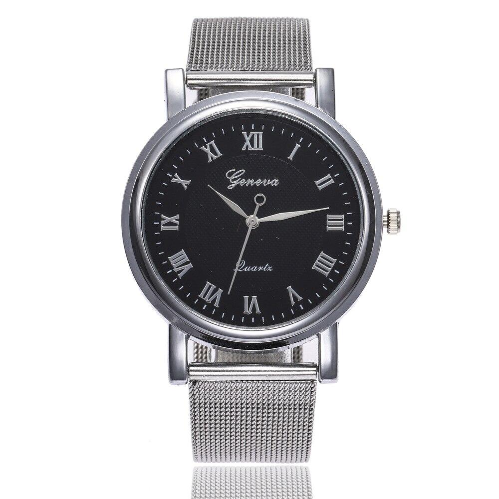 Fashion Silver Geneva Watches Ladies Women Watches Roman Luxury Casual Quartz Stainless Mesh Band Watch Relogio Feminino