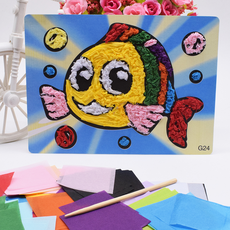 Children:  Fish Crafts Toys For Children Kids Diy Felt Paper Kindergarten Handicraft Material Funny Gift Arts And Craft New For Girl Boy - Martin's & Co