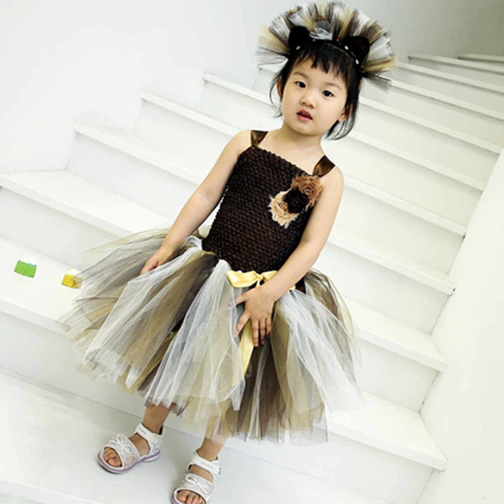 a4ce299f6 ... Brown Lion King Christmas Birthday Party Dress for Girls Flower Solid  Dress Clothes Baby Kids Cartoon ...