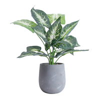 1 Pc Decorative Artificial Plants Silk Tropical Taro Leaves Fake Plant Potted Artificial Plant For Home Party Office Decor