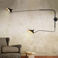 Black Retro Loft Industrial Vintage Wall Lamps French Designer luminaria Rotating Sconce Wall Lights For Home Decor jielde lamp