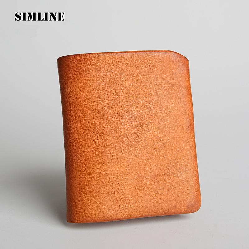 Brand Vintage Fashion Genuine Cow Leather Men Men's Short Trifold Wallet Wallets Purse Card Holder With Zipper Coin Pocket Man