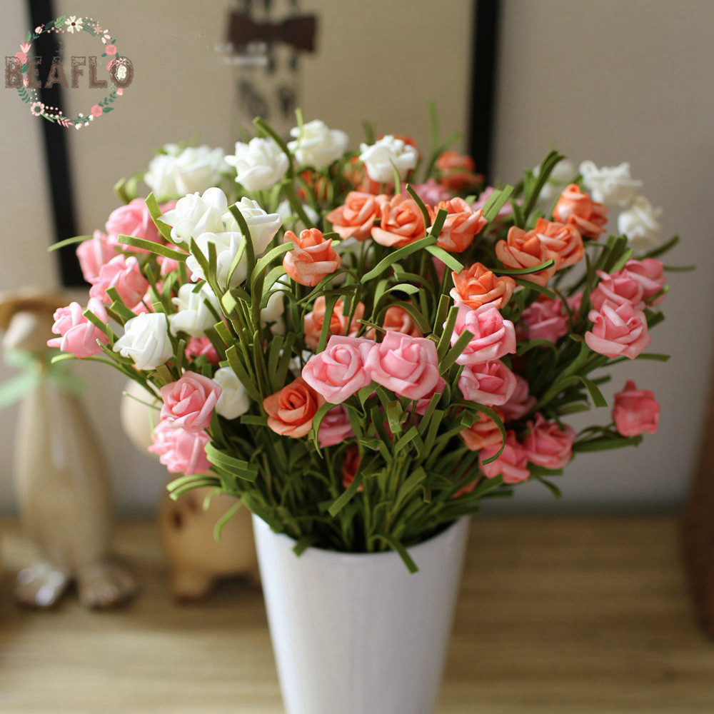 1pc european style artificial pe small rose 9 heads silk flower 1pc european style artificial pe small rose 9 heads silk flower american country wedding flower arrangement home decoration in artificial dried flowers mightylinksfo