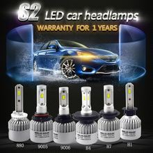 2PCS Car Lights Bulbs Headlights Auto Headlamp 72W 6000K 8000LM LED Lamp H1 H3 H4 H7 H8 H9 H11 H13 9007 9012 Led