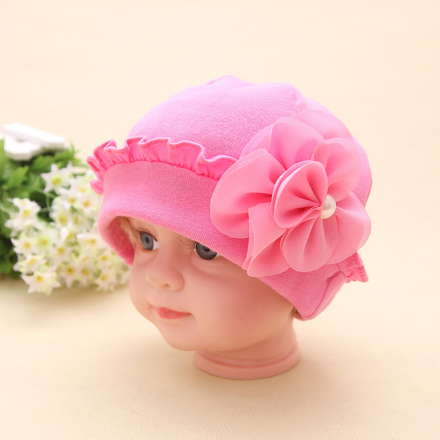 1d8d727f328 Brand New Beautiful Flower Baby Hat Solid Crochet Baby Beanie Boys Girls  Hats Lovely Baby Knitted