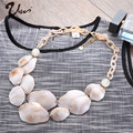 2016 Rushed Collier Anime Collares Maxi Necklace Fashion Bohemian Multilayer Acrylic Shell Shaped Pendants Jewelry for Women
