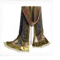 Army Green Women Velvet Silk Beaded Shawls Scarves Chinese Traditional Handmade Embroidery Scarf Wrap Cachecol Peacock NP055